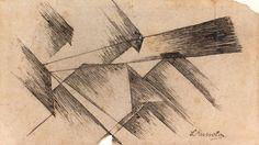 LUIGI RUSSOLO  LUIGI RUSSOLO Portogruaro 1885 - Laveno-Mombello 1947  Project for riot, 1911 Indian ink on paper, 10,5 x 18,5 cm Signed lower right: L. Russulo