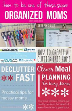 How to be one of those super ORGANIZED MOMS is part of Organization Life Organisation - From meal planning to craft supply and coupon organization, moms benefit from being organized! Organized moms seem to have it all together! Organisation Hacks, Storage Organization, Coupon Organization, Organized Mom, Staying Organized, How To Be More Organized, Organize Your Life, Organizing Your Home, Organizing Tips