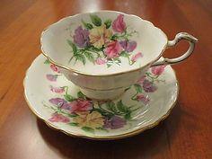 Paragon Bone China Footed Tea Cup & Saucer Set Purple Pink Yellow England