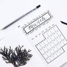 Bullet journal monthly calendar, bullet journal grid calendar, plant drawing. | @whitefox_art