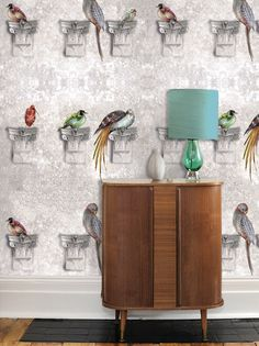 Perched Chalk Stone Wall Wallpaper with bird print