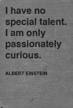 I have no special talent. I am only passionately curious! Albert Einstein