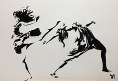 Andrea's dance. Ink drawing by Daniel Santisteban