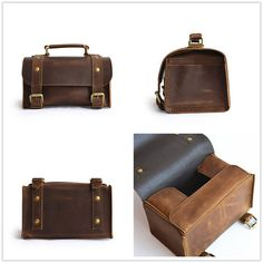 Handmade Leather Dopp Kit Leather Toiletry Bag by SolidLeatherCo