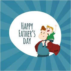Happy Father's Day Vector Cartoon Background