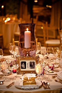 At each numbered table, a picture of the bride and groom at that age.