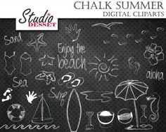 Summer Chalkboard Cliparts Beach Digital Clip Art by StudioDesset, $4.40