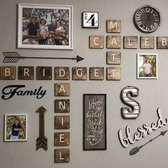 Letter Wall Decor, Family Wall Decor, Name Wall Art, Wood Wall Decor, Room Decor, Decorative Letters For Wall, Family Name Art, Scrabble Tile Wall Art, Scrabble Letters