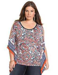 From the brightly-hued scarf print to the fluttering sides and flattering, boxy silhouette, this soft knit top updates your look with Boho-chic personality. Soft knit breathes well and drapes beautifully for comfort in any climate. Flattering scoop neck. <br /> <br />Make your getaway with the Escape Collection, resort wear made for your jet-setting lifestyle. Pack your bag with these travel-friendly, easy-wearing pieces you will love at home or away.<br /> lanebryant.com