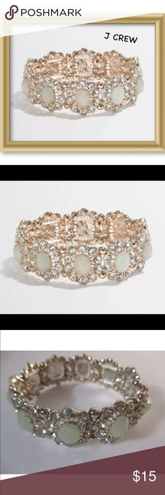 """🌼J Crew Factory Crystal Daisy Stretch Bracelet Made of Zinc Glass , Stretch 2"""" width Cream Color Georgeous! NWOT (new without Tags) J. Crew Factory Jewelry Bracelets"""