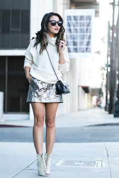 7141892fa5c Metallic Love    Metallic skirt   Cozy sweater
