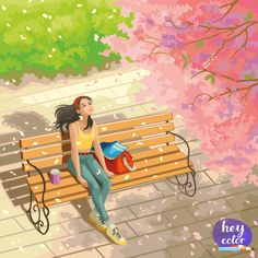 Girl Cartoon, Cartoon Art, Alone Girl, Happy Colors, Disney Characters, Fictional Characters, Disney Princess, Canvas, Illustration
