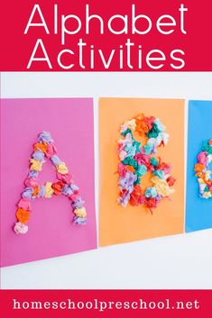 Each one of these preschool alphabet activities featured will help teach, reinforce, or review the letters of the alphabet. Many focus on beginning sounds, as well. #kidseducation #alphabetactivities #preschoolalphabetactivities #homeschoolprek Fun Learning Games, Alphabet Activities, Hands On Activities, Craft Activities For Kids, Kids Learning, Literacy Activities, Preschool Ideas, Kids Crafts, Preschool Alphabet