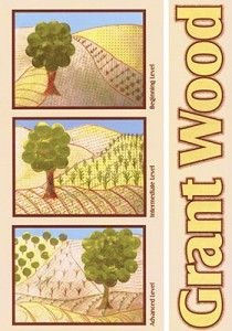 Grant Wood: landscape composition: rubbings for textures/patterns. Stamping circles for tree foliage....include barn or house (perspective)?