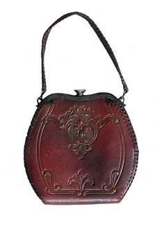 Vintage 1930s Art Deco Floral Tooled Leather Purse