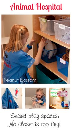 {Creative Play Spaces} How to turn a tiny space in your home into a secret play space for your kid. The theme of the moment for us is Animal Hospital, but we're excited to see that rotate over time!
