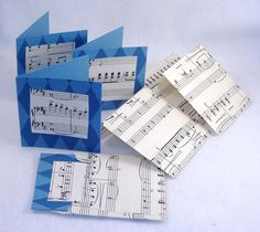 4 Matching Music Decorated Cards & Envelopes - Repurposed Music Score Paper, Folded Blue Card. $3.75, via Etsy.