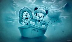 The icy blue-colored image features Mickey Mouse and Minnie Mouse fishing in glacial waters as the Disney Wondersits in the distance.