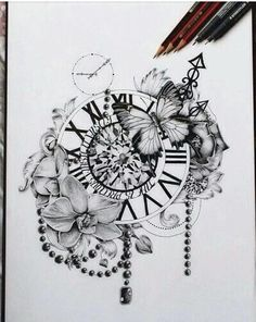 art, black and white, clock, creative, cute, drawing, flowers, time