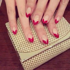 Nude and red nails