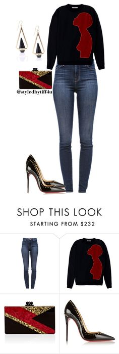 """""""Silhouette"""" by iwillmakeithappen ❤ liked on Polyvore featuring J Brand, Christopher Kane, Edie Parker, Christian Louboutin, skinnyjeans, stilettos, graphictop and blingedoutclutch"""