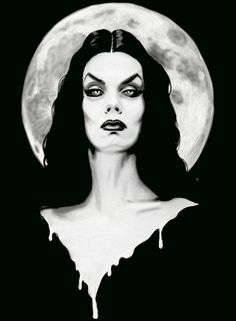 Vampira stretched canvas print by StuffoftheDead on Etsy