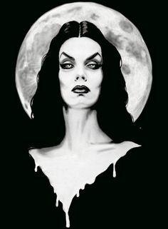 Vampira Maila Nurmi Stretched Canvas Art Print by Shayne of the Dead White Canvas Art, Black And White Canvas, Black White, Arte Horror, Horror Art, Horror Movies, Lily Monster, Stretched Canvas Prints, Canvas Art Prints