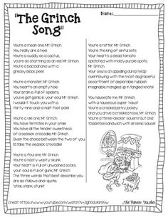 Listen to The Grinch Song and read the included lyrics with your students. Also included is a t-chart for students to find the similes and the metaphors… 6th Grade Ela, 5th Grade Reading, Second Grade, Reading Lessons, Teaching Reading, Reading Skills, Math Lessons, Learning, Similes And Metaphors