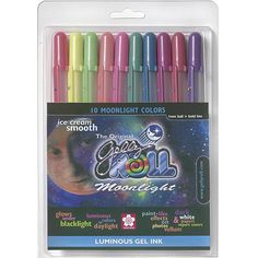 This gelly roll set in 'Moonlight' features ten luminous colors of ice cream-smooth gel ink that even glows under black light. This ink is permanent, waterproof and works like a paint pen on all color Luminous Paint, Luminous Colours, Gel Ink Pens, Paint Pens, Sharpie Pens, Scrapbook Supplies, Craft Supplies, Writing Photos, Draw On Photos