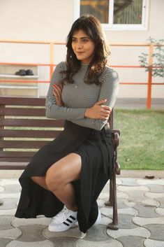 Hebah Patel At Movie Press Meet In Black Dress