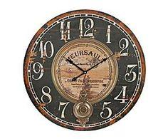 Reloj de pared en DM – negro y marrón