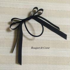 ハンドメイド♡ 二段ロングリボンヘアゴム♡ ブラック  http://s.ameblo.jp/bouquet-de-coeur/  Handmade black long hair accessory
