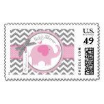 Pink Elephant and Chevron Print Baby Shower Postage Stamp