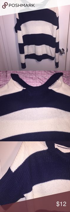 Cardigan with neck cuts. Marine blue and white. Long sleeve. Two cuts at the neck. Over sized. Worn before. Charlotte Russe Sweaters Cardigans