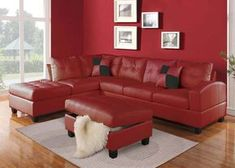 Acme Furniture - Kiva 2 Piece Left Facing Bonded Leather Sectional Sofa Set in Red - Living Room Color Schemes, Living Room Sets, Furniture, Sofa Set, Sofa Decor, Red Leather Sofa, Red Sectional Sofa, Living Room Red, Red Living Room Color Scheme
