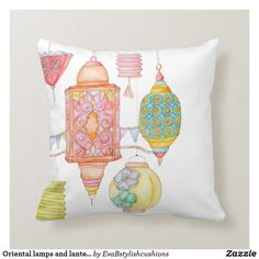 Oriental lamps and lanterns throw pillow - bedroom decor diy custom Personalised Cushions, Decorating Your Home, Decorating Ideas, Diy Bedroom Decor, Decorative Pillows, Lanterns, Oriental, Lamps, Throw Pillows
