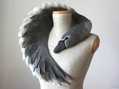 Ugly Duckling - Grey Swan,felted wool animal scarf von celapiu auf DaWanda.com