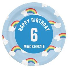 Personalize Whimsical Rainbow Birthday Party Plate
