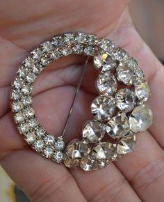 Vintage WEISS Huge Clear Rhinestone 3D Brooch Pin Fashion Bridal Wedding Jewelry #Weiss