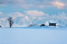 Barn and mountain - Hokkaido  Biei. Hill in Biei of snow. The mountains makes Biei beautiful with a barn.