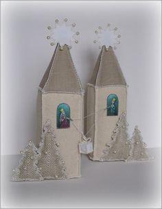 Miniature Houses, Christmas Decoration, Fabric, Princess, Christmas Tree, Linen, Cotton, Applique,  Textile art, Miniature hand-painted