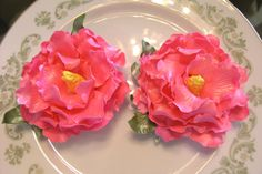 GUM PASTE PEONIES  Deep Pink /  Gorgeous Cake  by lenabender48, $14.95