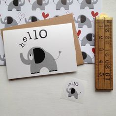 A gorgeous 'hello' elephant greeting card or set to send via snail mail to people you'd like to say 'hello' or a little more too!All designs are © halfpinthome 2012-2015One hello letter writing notelet or a pack of five notelets for pen-pal writing, quick hello's and thank you's or for sending something longer to a pen-pal. Included in the cello wrap you'll find a cute matching sticker as a lovely finishing touch for the envelope or to use when wrapping a gift. If you order a pack of ...