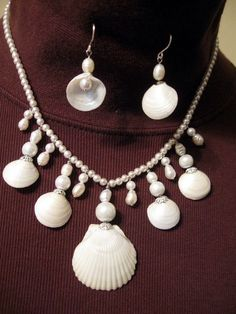 Beach wedding set- Handmade Seashell Jewelry