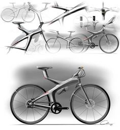 """Sheng-Chieh Chang's concept sketches for a """"future urban E-bike""""."""