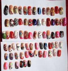 Variety freehand nail art designs