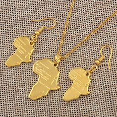 Anniyo Africa Map Jewelry set Pendant Necklaces Earrings Gold Color Map of African Ethiopian Nigeria Sudan Congo sets The product is gold plated or silver plated,no real pure gold or silver Packing: bag NO GIFT BOX NOTICE: Product size or color Necklace Set, Arrow Necklace, Gold Necklace, Pendant Necklace, Africa Map, Cheap Necklaces, Earring Set, Gold Earrings, Jewelry Sets
