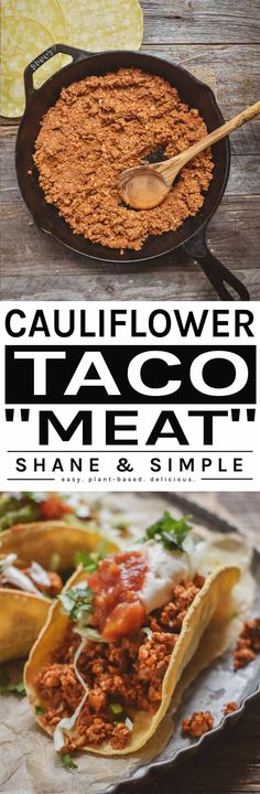 No more nasty drive-thru tacos. Make this delicious cauliflower mushroom walnut vegan taco meat. Low-fat, easy to make, healthy, and ready in 20 minutes. Veggie Recipes, Mexican Food Recipes, Whole Food Recipes, Vegetarian Recipes, Cooking Recipes, Dinner Recipes, Chicken Recipes, Dessert Recipes, Healthy Recipes