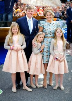 King Willem-Alexander, Queen Maxima, Crown Princess Amalia (L), Princess Alexia (R) and Princess Ariane