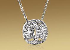 Bulgari -PARENTESI pendant - white gold and pave diamonds
